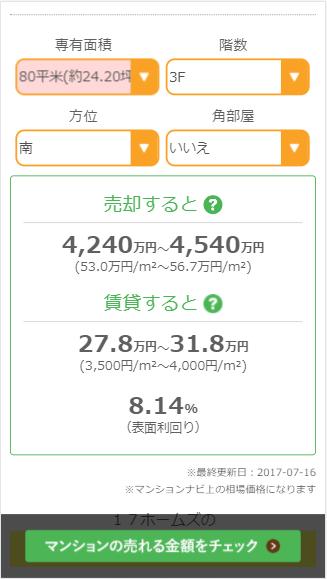マンションナビの売却価格表示画面